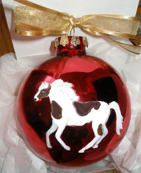 PInto Horse Hand Painted Christmas Ornament - Can Be Personalized with Name