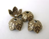 Antiqued Brass Ox Leaf Bead Cap Vintage Style 8mm bcp0021 (6)