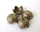 Antiqued Brass Ox Dot Bead Cap Vintage Style Dotted Flower 8mm bcp0022 (6)