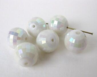 Vintage Bead White AB Aurora Borealis Round Lucite Plastic Rainbow 14mm vpb0070 (8)