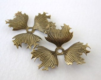 Vintage Style Flower Stamping Leaves Antiqued Brass Ox Layer 28mm stp0077 (2)