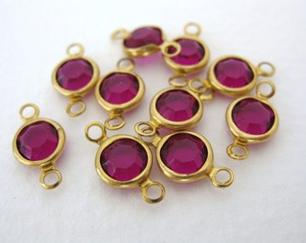 Vintage Bead Drop Channel Set Amethyst Acrylic Connector Charm Faceted Gold 7mm vpb0114 (12)