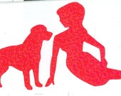 Labrador and Pin Up Silhouette, Pink Glitter Vinyl Decal