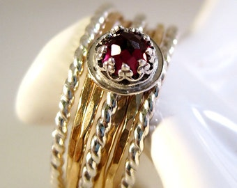 Sterling Silver Gold Fill and Garnet Stacking Ring Set