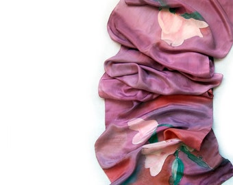 Gentle Peonies in Pink hand painted silk scarf. Handpainted scarves.Pastel pink scarf with peonies.Woman fashion long scarf