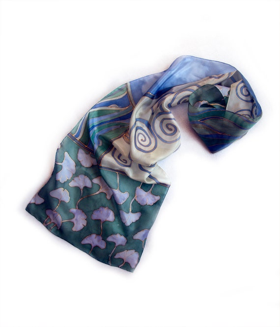Hand painted silk scarf. Blue ginkgo leaves and Spirals. Decorative hand painted scarf in Olympian  blue and  military green -MADE TO ORDER