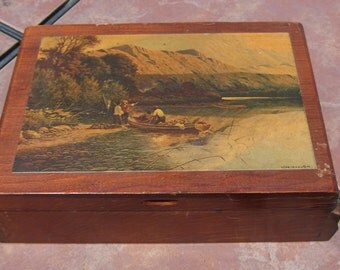 Jewelry Box with Litho Print of an Outdoors Scene.