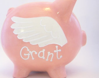 Flying Pig Piggy Bank - Personalized Piggy Bank - When Pigs Fly Savings Bank - Flying Pig Bank - Fun Bank - with hole or NO hole in bottom