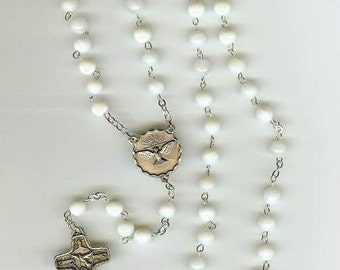 Handmade Confirmation Rosary in Mother of Pearl & Special Crucifix and Center Piece-Can be Changed for a Regular Rosary