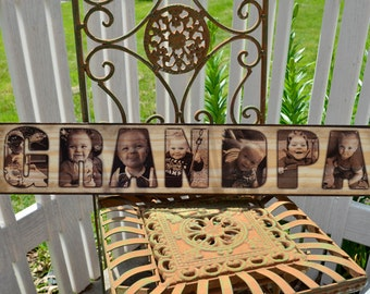Image transferred to wood - Custom photo collage sign