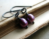 Freshwater pearl and sterling silver earrings, mauve pink pearls, romantic valentine's day gift - Seduction