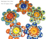 COLOR TOPPERS Handmade Lampwork Beads Bright Colors Red Blue Yellow Green Big Disc Flat Shapes Set of 5