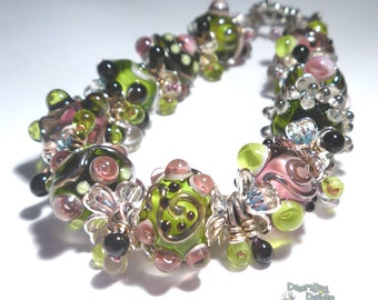 40% off SALE *  METRO GIRL Handmade Lampwork Bead Bracelet Shimmery Sparkly Pink Green Black  Silver Bold and Bohemian  Artist Made Jewelry
