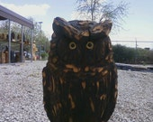 Natural Spotted Owl Chainsaw Carved Wood Sculpture