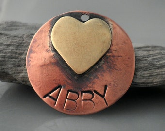 Abby Pet ID Tag, Custom Pet ID Tag, Heart, Personalized, Mixed Metals