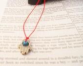 Hamsa/Fatima hand red string necklace