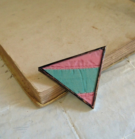Triangle Quilt Pin Vintage Quilt Jewelry One of a Kind