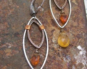 Mixed metal feather earrings - Citrine Gemstones - Feather Earrings  - Boho Dangle Earrings.