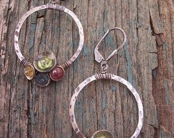 Tiny Bubbles,Sterling Silver Hoop Earrings with Gemstones,,Hoop Earrings.