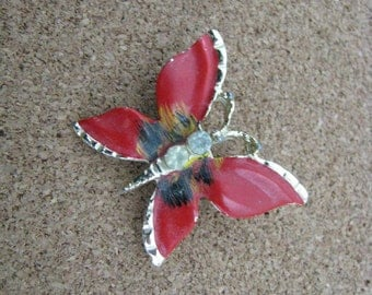 Reddish orange enamel vintage butterfly brooch pin with gold tone accents
