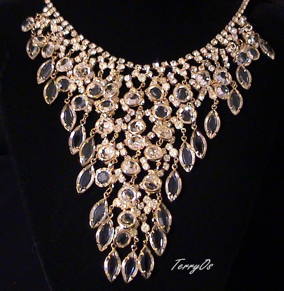 Vintage diamante bezel crystal waterfall bib necklace for Waterfall design etsy
