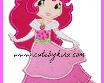 Strawberry Girl Princess Applique Embroidery Design