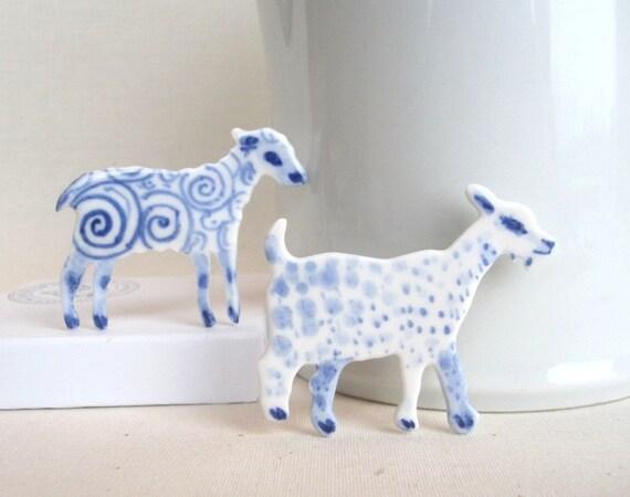 Goat - Handpainted Delft porcelain Brooch