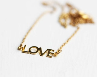 Love Word Necklace, Gold Love Necklace, Silver Love Necklace, Love Necklace, Love Letter Necklace, Word Necklace, Silver or gold plated