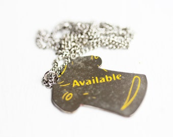 Available Tshirt Necklace, Word Necklace, Shirt Necklace, Silver Necklace, Silver Pendant