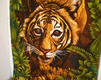 Vintage Bark Cloth Tiger Wall Hanging Fabric by Wesco Reltex