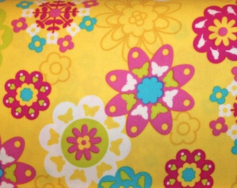 Closeout, Wholesale, Flannel, Irving Street, Yellow,Flower, Power, Sale, Deal of the Week, FreeSpirit, Fabric, 1 yard, FREE SHIPPING to US