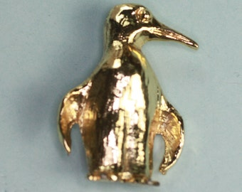 Gold Tone Penguin Pin Signed Mamselle Vintage