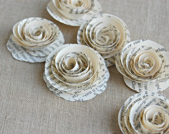 50 -Paper Book Roses /   Vintage Book Page Flowers /  Book Themed Shower Wedding