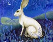 Mystical, white hare art print
