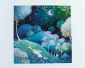 Special edition art print with gold leaf.  Under the Stars . By Amanda Clark.