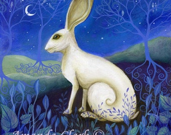 Hare Art Print with mount/matt.  The Hare by Amanda Clark.