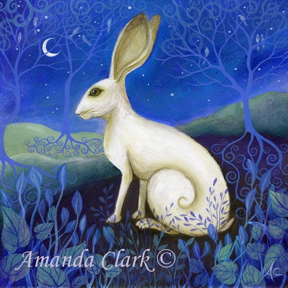 Mystical, white hare art print
