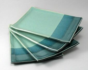 Ceramic Plates-Pearl Green Glaze-Peacock Gloss Glaze-Stoneware Trays-Tableware-Pottery Dinnerware-Plate Set-Teal-Turquoise