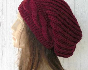 Handmade Knit Hat -   Slouchy Beanie  Hat  Women hat  Slouchy Hat Chunky Knit Hat Winter Hat Womens Beanie Burgundy Hat  Fashion accessories