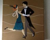Custom Portrait - Original collage dancing art deco couple 10x10