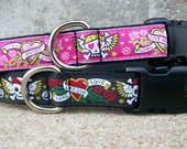 Dog Collar, Tattoo Skulls in Choice of Pink or Black, Sizes M, L, XL, Side Release Buckle