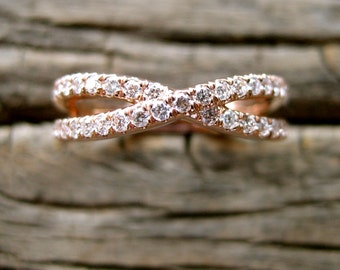 Infinity Symbol Sign Wedding Ring in 14K Rose Gold with Diamonds Size 6