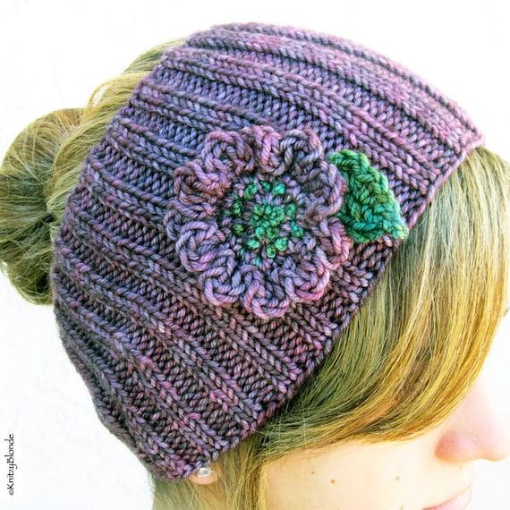 Knit Headband, Cashmere Merino Wool, Crochet Flower, Heart Button, Dusty Plum Purple Green