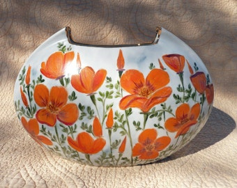 Orange California Poppy Vase