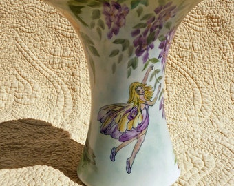 Garden Fairy Vase with Wisteria and Calendula