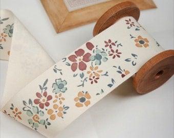 1 Yard Sewing Tape/Ribbon - Shabby Chic Autumn Daisy Floral Flower Garden (W4CM)