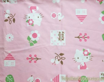 Lovely Hello Kitty Bird House Flower Tree On Pink-Japanese Silk Cotton Fabric(1/2 Yard)