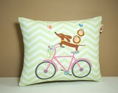 Dachshund Pillow - Doxies and Owl Ride a Pink Bicycle Celery Chevron