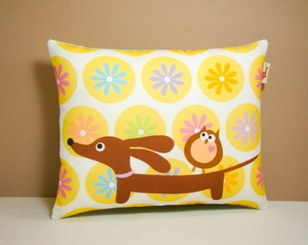 Dachshund Wiener Dog Pillow - Doxie and Owl in the Daisy Dot Garden - Whimsical Dog Decor Polka Dot Yellow White
