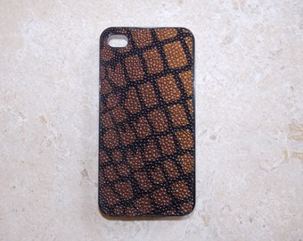 Genuine Stingray hard case for iPhone 4 or 4S - Black and Brown Stingray